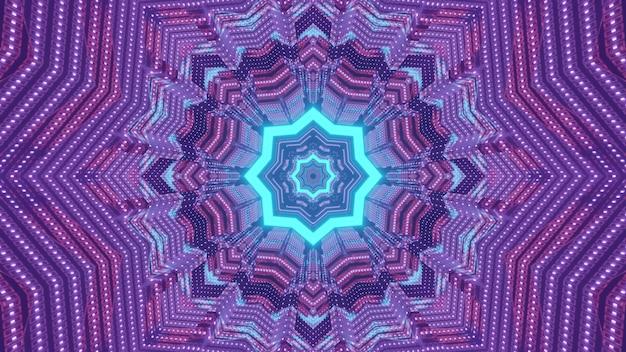 Streszczenie futurystycznego tła 3d ilustracja z błyszczącą niebieską neonową gwiazdą geometryczną i kolorowymi cząstkami światła tworzącymi symetryczny ornament
