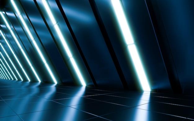 Streszczenie futurystyczny ciemny korytarz z neonowym światłem.