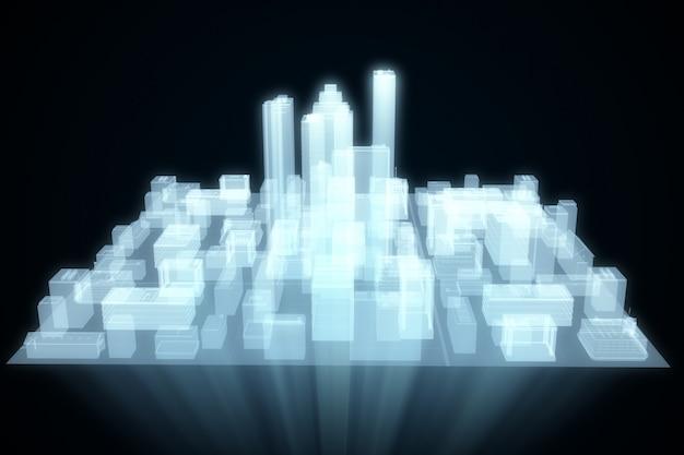 Streszczenie futurystyczny hologram miasta
