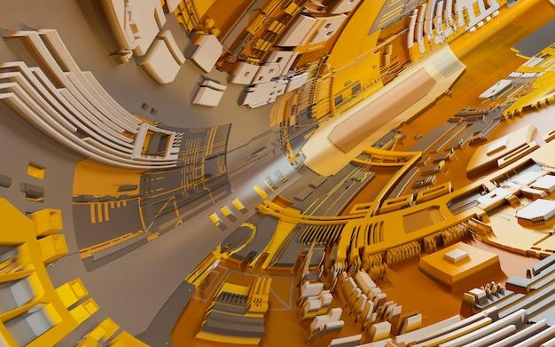 Streszczenie futurystyczny tunel w stylu obwodu elektronicznego. renderowania 3d