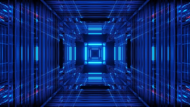 Streszczenie futurystycznym tle science fiction z niebieskimi neonami
