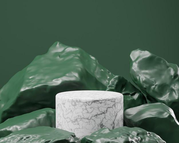 Streszczenie geometryczne białe marmurowe podium z realistycznym kamieniem i skałą. użyj do prezentacji kosmetyków lub produktów. renderowania 3d i ilustracji.
