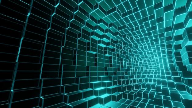 Streszczenie geometryczne z świecące tło wifreframe