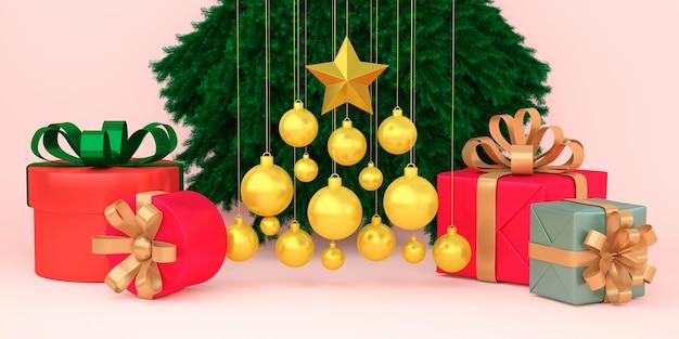 Streszczenie geometryczny kształt pudełka na prezenty świąteczne scena koncepcja dekoracji renderowania 3d