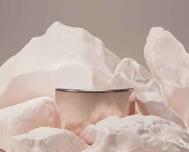 Streszczenie geometryczny o realistycznym kształcie kamienia i skały. użyj do prezentacji kosmetyków lub produktów. renderowania 3d i ilustracji.