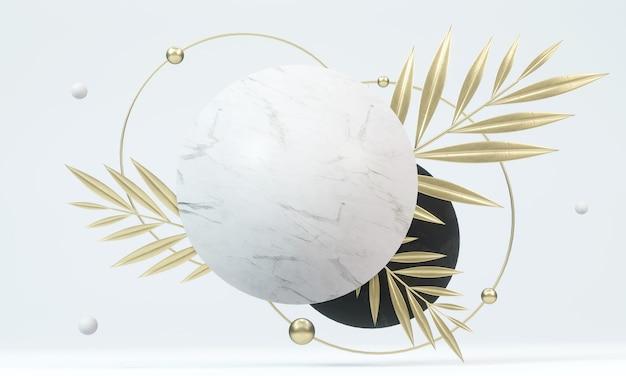 Streszczenie geometryczny wystrój kamienia przez liście palmowe. scena makiety dla produktu