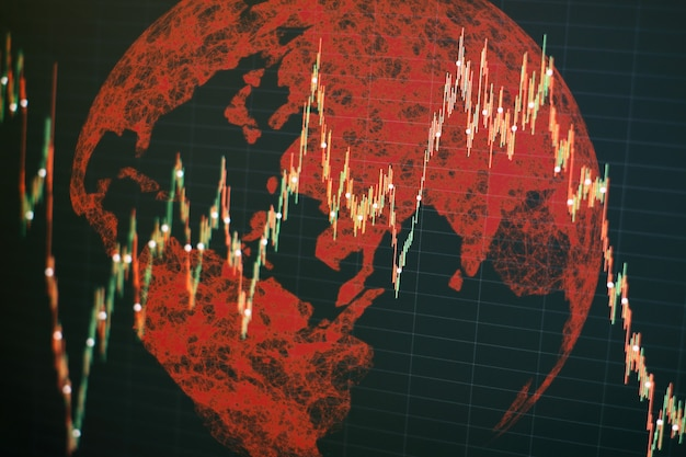 Streszczenie globalnego biznesu hologram ziemi. biznes i technologia concept wykresy słupkowe, diagramy, dane finansowe. streszczenie świecące tapeta interfejsu wykresu forex. inwestycje, handel, akcje, finanse