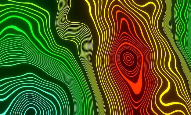 Streszczenie gradientowe topograficzne linie konturowe. ilustracja 3d.