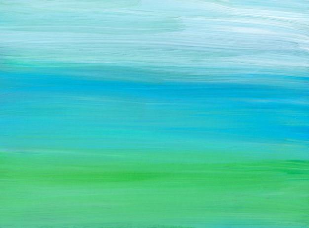Streszczenie jasnoniebieski, zielony i biały obraz tła. współczesna grafika olejna. miękkie pociągnięcia pędzlem na papierze.