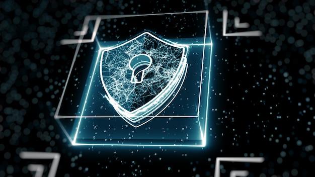 Streszczenie koncepcji bezpieczeństwa cybernetycznego. tarcza z ikoną dziurki od klucza na tle danych cyfrowych.