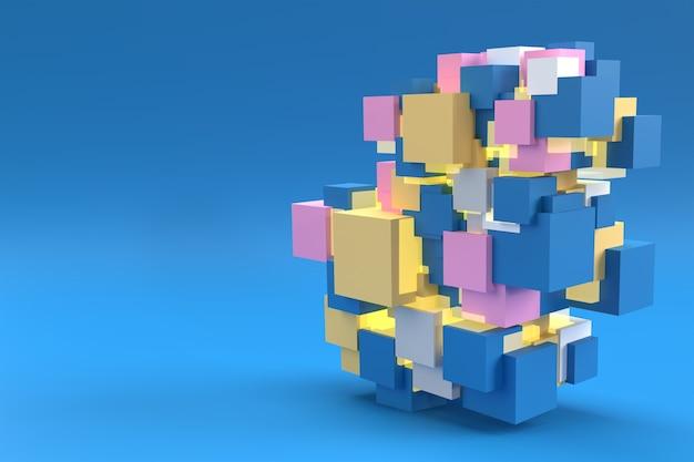 Streszczenie kostki 3d. projekt tła renderowania 3d.