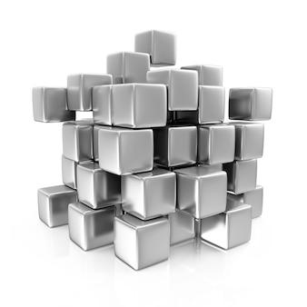 Streszczenie kostki metalowe na białym tle