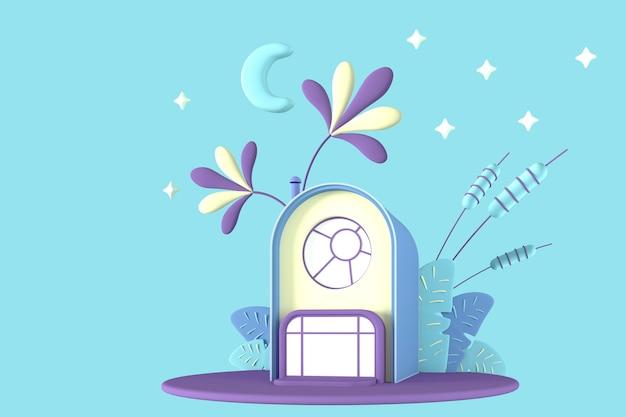 Streszczenie kreskówka koncepcja mały dom w pastelowych kolorach na szarym tle roślin na tle rozgwieżdżonego nieba i księżyca. ilustracja 3d