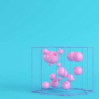 Streszczenie kule w polu drutu na jasnym niebieskim tle