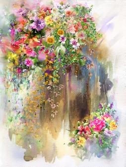 Streszczenie kwiaty na ścianie akwarela malarstwo. wiosenne wielokolorowe kwiaty