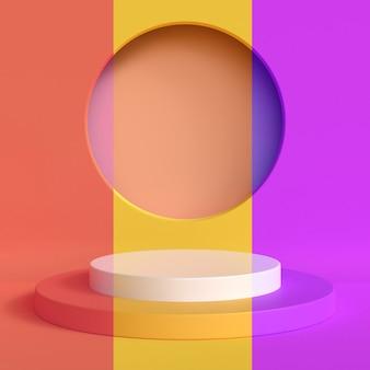 Streszczenie makieta sceny żółty zielony niebieski pastelowy kolor. geometria kształt podium tło dla produktu. renderowania 3d.