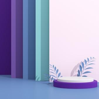 Streszczenie makiety podium geometrii i chmury w minimalistycznym stylu.
