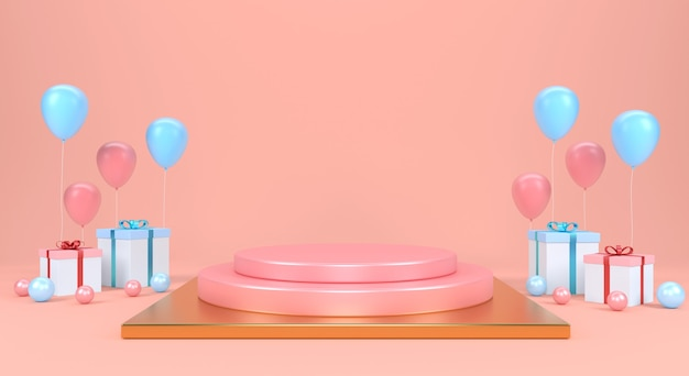 Streszczenie makiety sceny w pastelowym kolorze. wyświetlacz produktu. wykonanie