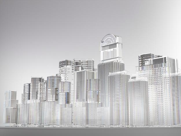Streszczenie miasto budynków ze szkła