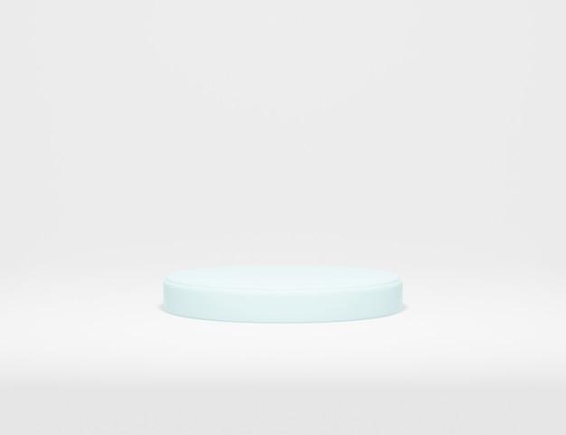 Streszczenie minimalistyczne niebieskie podium do prezentacji produktu z białym tłem renderowania 3d