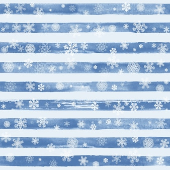 Streszczenie moda zima wzór z białe płatki śniegu na paski akwarela niebiesko-białe tło. koncepcja szczęśliwego nowego roku i wesołych świąt.