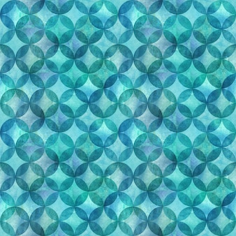 Streszczenie nakładające się koła wzór. akwarela ręcznie rysowane turkus niebieski turkus teksturowanej tło. akwarela elementy w kształcie kuli geometrycznej. druk na tekstylia, tapety, opakowania