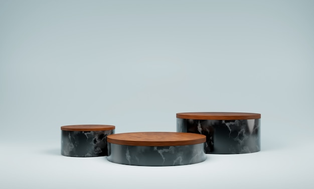 Streszczenie naturalny marmur czarny podium. scena produktu, luksusowe podium, renderowanie 3d