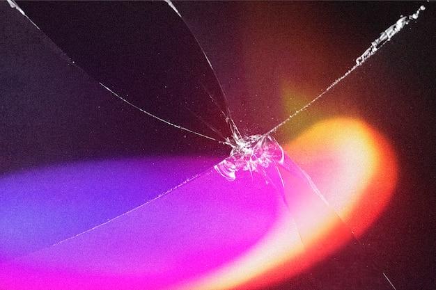 Streszczenie neon holograficzne tło tapety z potłuczonym szkłem