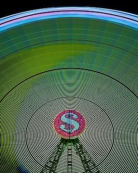 Streszczenie neonowe fale świetlne koła cudu i znak dolara
