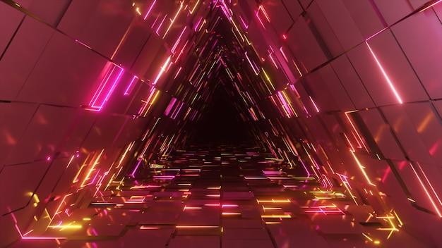 Streszczenie neonowy trójkąt tunelu technologicznego. niekończące się animowane tło. nowoczesne światło neonowe. jasne neonowe linie. płynna pętla renderowania 3d