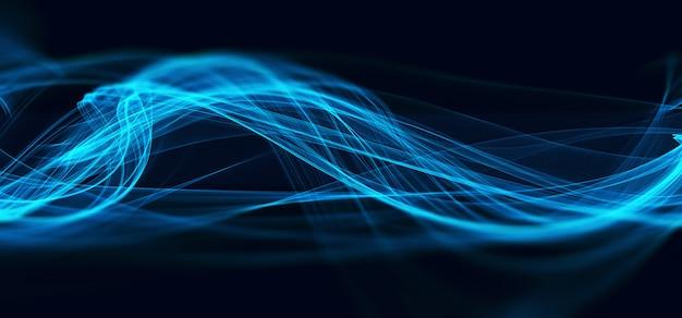 Streszczenie niebieski fraktal fala technologia tło