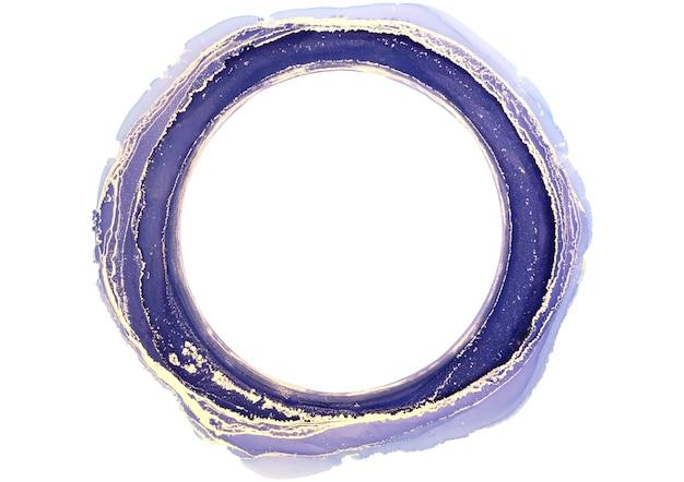 Streszczenie niebieski i złoty akwarela, koło, pociągnięcia pędzlem tuszem na białym, kreatywnych ilustracji, moda tło, kolor wzór, logo.