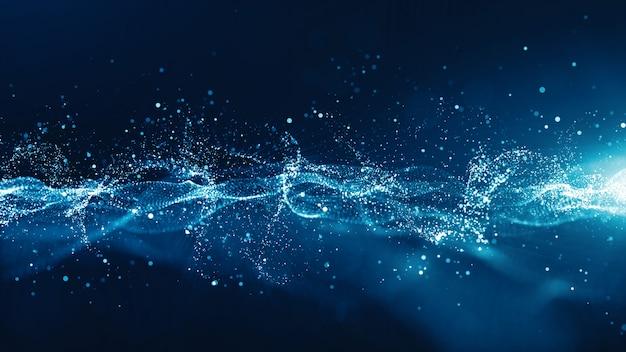 Streszczenie niebieski kolor cyfrowy cząstek fala z bokeh i światło
