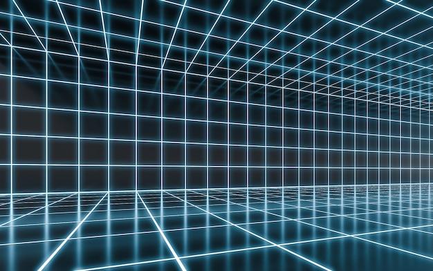 Streszczenie niebieski neon świecące tło. neon light on refelction surface rendering 3d
