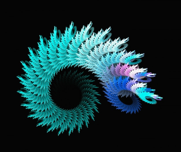 Streszczenie niebieski spirala fraktalna tło