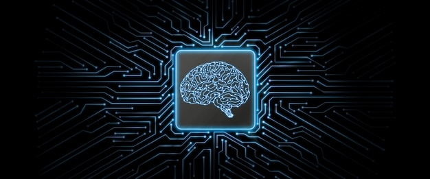 Streszczenie niebieski świecące płytki z logo mózgu w centrum.