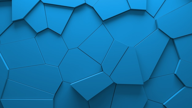 Streszczenie niebieskim tle bloków voronoi wytłaczane. minimalna, czysta ściana korporacyjna. ilustracja geometryczna powierzchni 3d. przemieszczanie elementów wielokątnych.