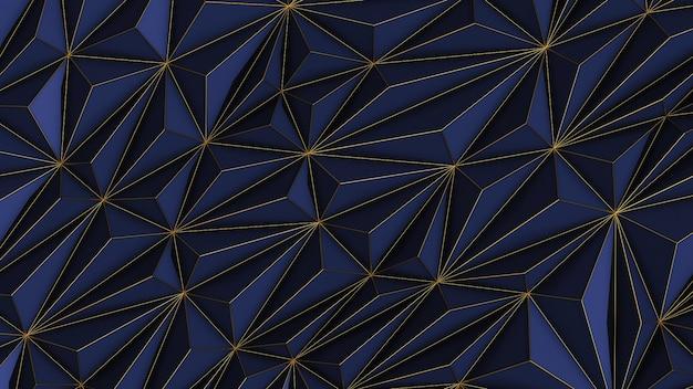Streszczenie niebieskim tle low poly z miejsca na kopię i złoty pasek renderowania 3d