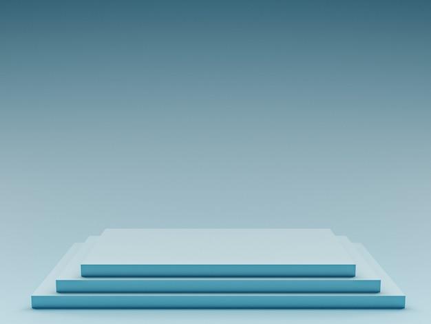 Streszczenie niebieskim tle z koncepcją figury geometrycznej i pustej przestrzeni