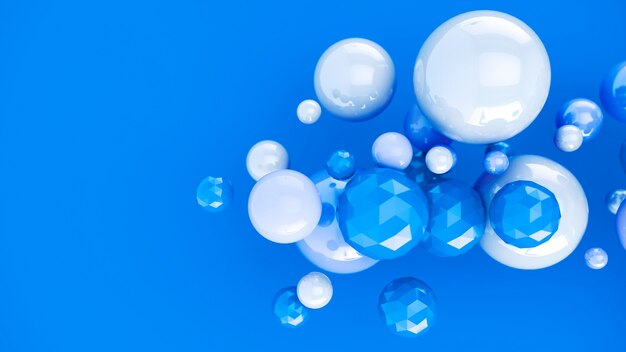 Streszczenie niebieskim tle z kulistymi bąbelkami