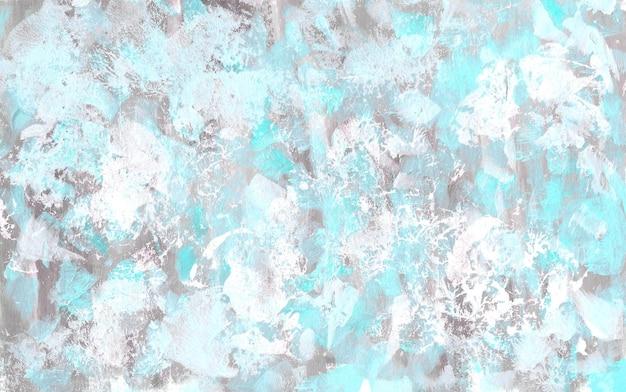 Streszczenie niebiesko-biała i szara tekstura ręcznie rysowane akrylowe szorstkie tło kolor powierzchni tła