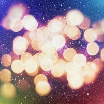 Streszczenie niewyraźne niebieskie i srebrne błyszczące świecące żarówki tło: rozmycie świątecznych tapet dekoracji concept.xmas tło festiwalu wakacyjnego: błyszczący krąg oświetlony uroczystościami.