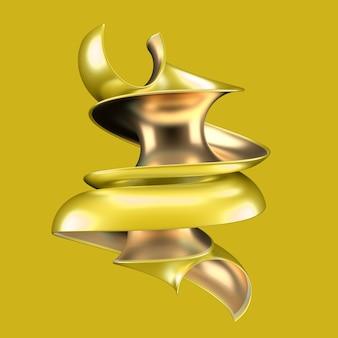 Streszczenie o żółtym i złotym kształcie. ilustracja 3d,