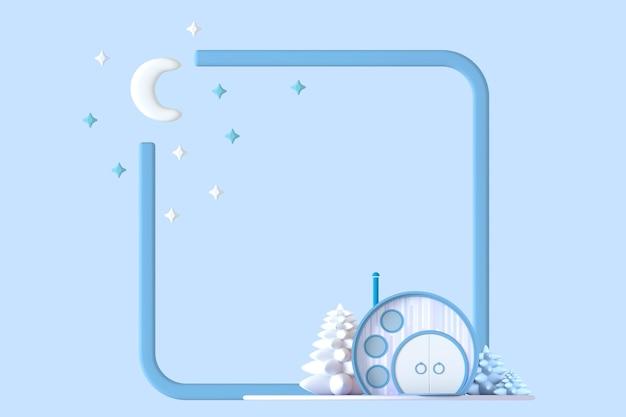 Streszczenie okrągła kreskówka koncepcja malutkiego domku w pastelowych kolorach na zestawie roślin na tle granicy kwadratowej ramki ze stylizowanym wizerunkiem księżyca i gwiazd. ilustracja 3d