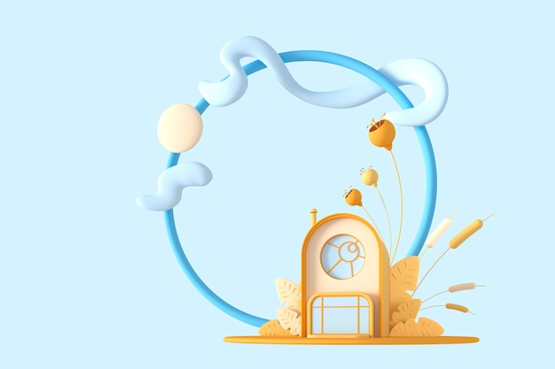 Streszczenie okrągły kreskówka koncepcja mały dom w pastelowych kolorach z roślinami na granicy tła ramki koła