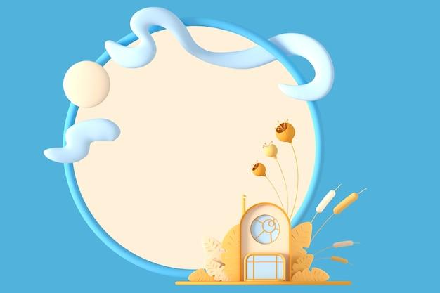 Streszczenie okrągły kreskówka koncepcja mały domek w pastelowych kolorach