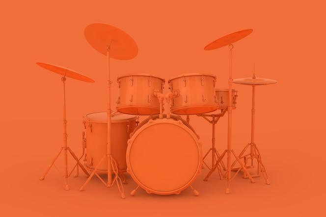 Streszczenie orange clay style professional rock black drum kit na pomarańczowym tle. renderowanie 3d