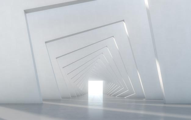 Streszczenie oświetlony pusty biały korytarz wnętrza. renderowanie 3d.