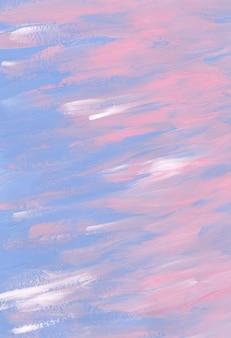 Streszczenie pastelowe niebieskie, różowe, białe tło tekstury. pociągnięcia pędzlem po malowaniu na papierze.