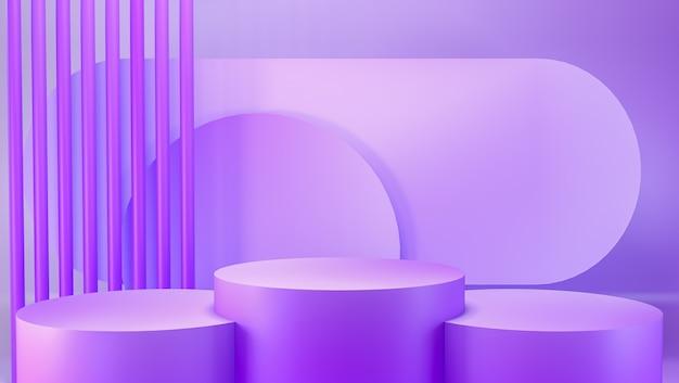 Streszczenie pastelowy fioletowy kolor geometryczny pusty stojak na produkt